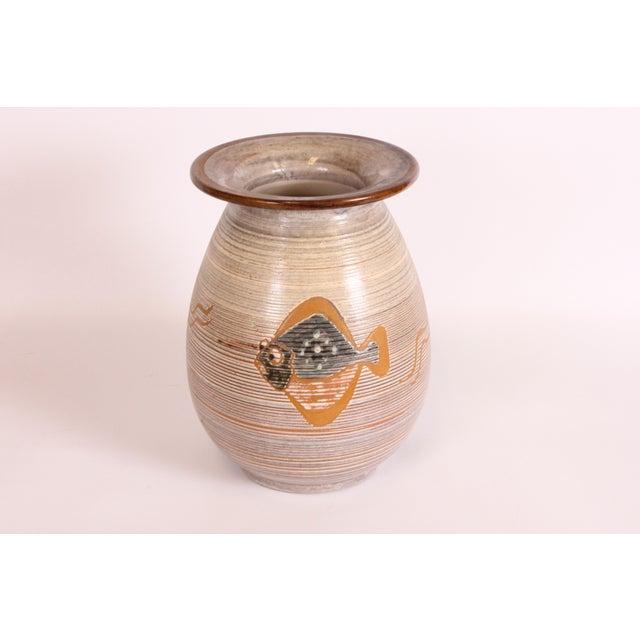 Image of H.F. Gross Ceramic Vase with Fish Motif