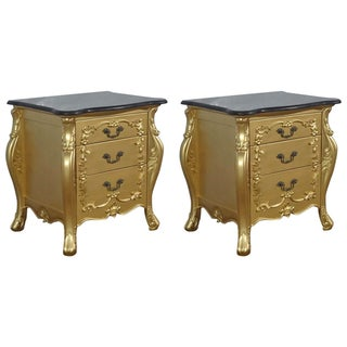 Gold French Louis XV Nightstands - Pair