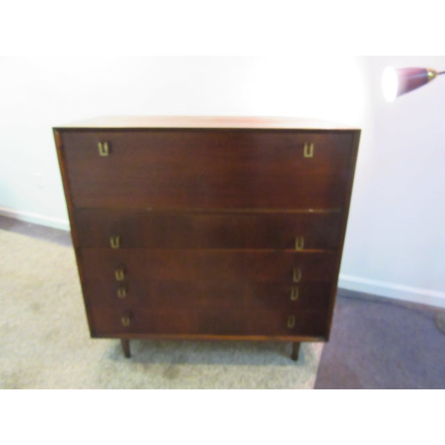Image of Danish Modern Walnut Tall Dresser Pencil Leg