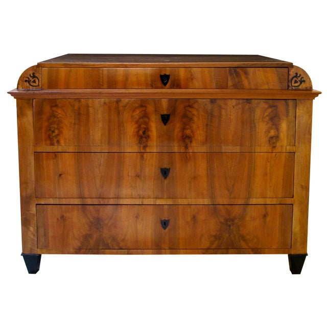 Image of Handsome Austrian Biedermeier Walnut Four-Drawer Chest with Inlaid Decoration