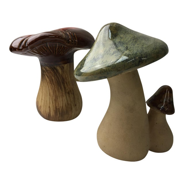 Vintage Ceramic Mushrooms - A Pair - Image 1 of 5