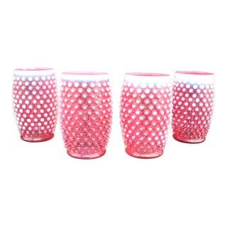Hobnail Cranberry Glasses - Set of 4
