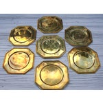 Image of Vintage Solid Brass Hexagon Charger Plates - 6
