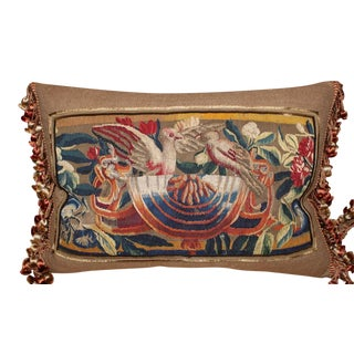 Single 18th C. Brughe Tapestry Pillos with Birds
