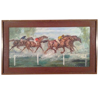 Mid-Century Modern Horse Race Painting