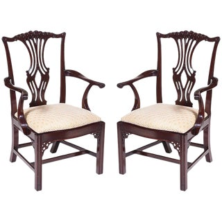 Vintage Chippendale Arm Chairs - A Pair