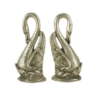 Brass Swan Fireplace Andirons - A Pair