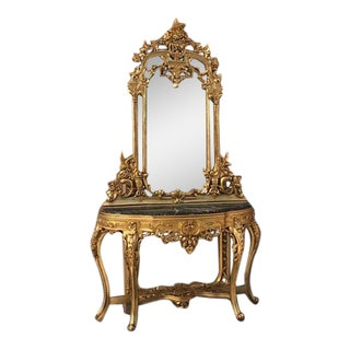 French Louis XVI Style Console With Mirror