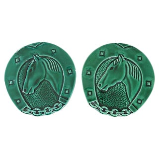 Mid-Century Green Majolica Horse Wine Trivets - a Pair