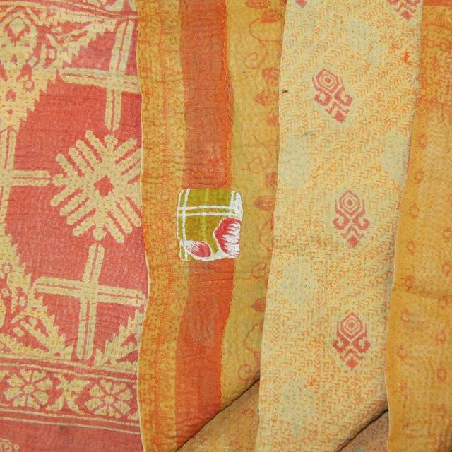 Vintage Orange Kantha Quilt - Image 2 of 2