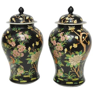 Pair of Chinese Famille Noir Black Ginger Jars
