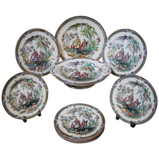 Antique English Chinoiserie Plates - Set of 10