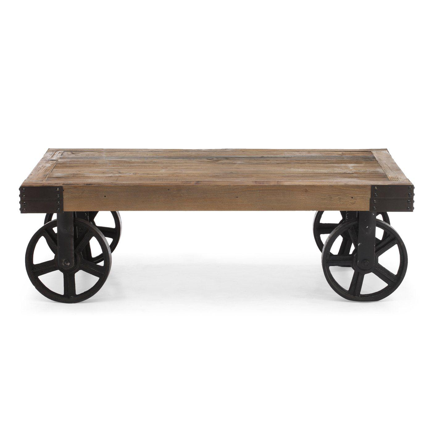 Industrial Fir Wood Cart Table   Image 5 Of 5