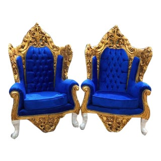 Rococo / Baroque Style Chairs in Royal Blue Velvet - A Pair