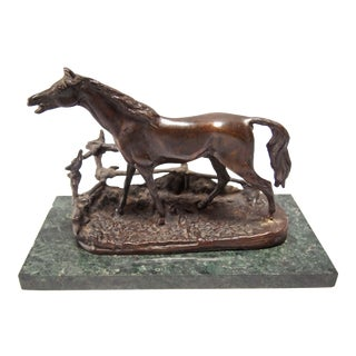 French Bronze Barrier Horse
