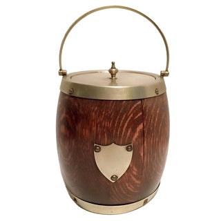 Late 19th C. English Oak Biscuit Barrel/Ice Bucket