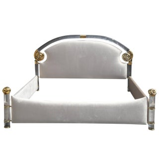 Glamorous Brass and Lucite Queen Bed by Marcello Mioni