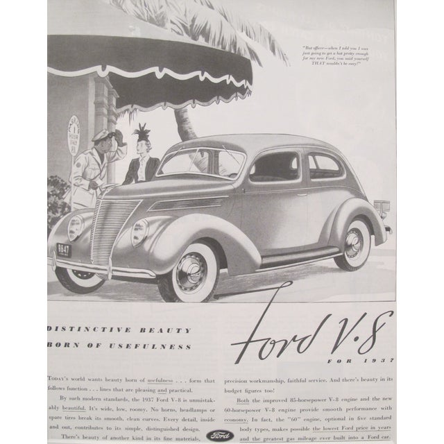 1930s Matted Ford V8 Black and White Car Ad - Image 1 of 3