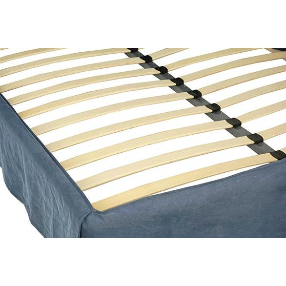 Dark Blue Fabric Bed Frame Queen - Image 2 of 2