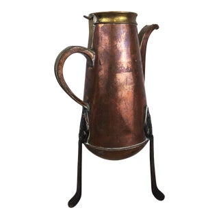 Antique French Country Copper Coffee Pot