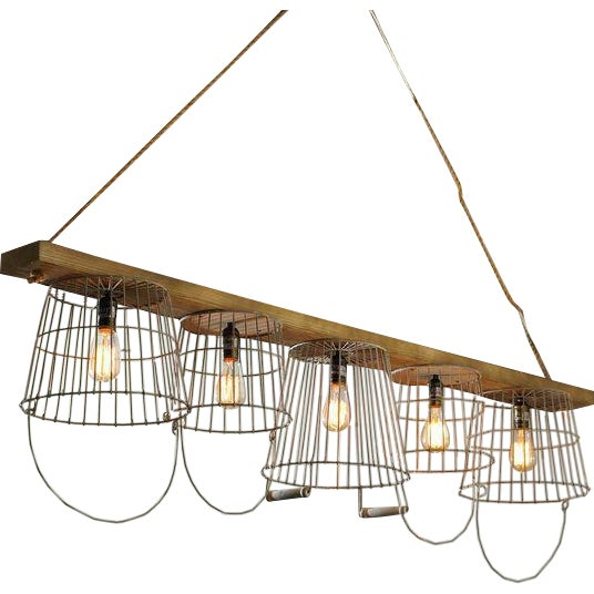 Rustic wire basket and wood chandelier chairish for Rustic wire chandelier