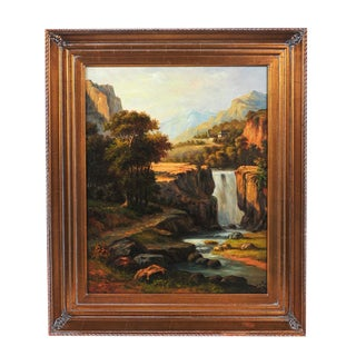 """19th C. Hudson River School """"Waterfall Landscape"""" Oil Painting"""