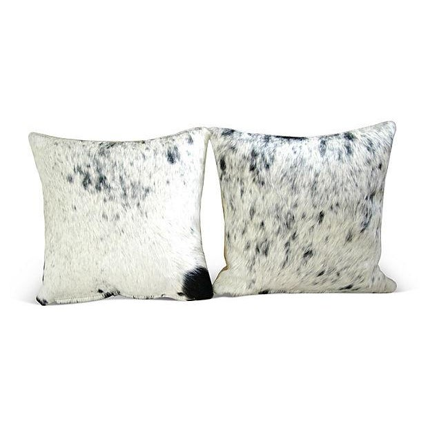 Black, White & Gray Cowhide Pillows - A Pair - Image 6 of 6