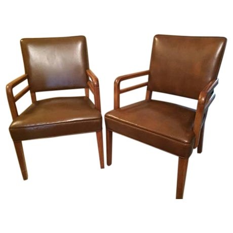 Stow davis midcentury modern leather chairs pair chairish for Mid century modern leather chairs