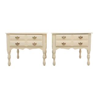 Chippendale Nightstands in Cream - a Pair