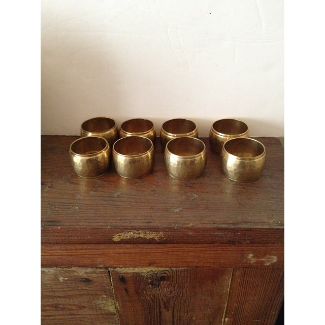 Image of Hammered Brass Napkin Rings - Set of 8