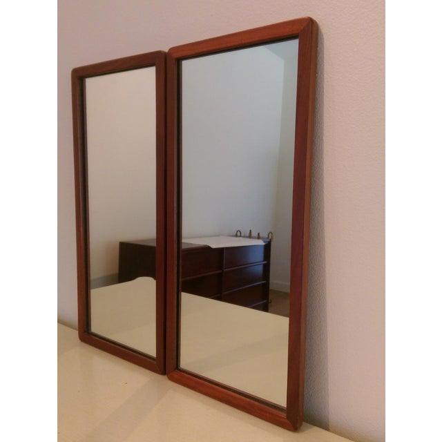 Narrow Danish Modern Teak Mirrors, a Pair - Image 4 of 8