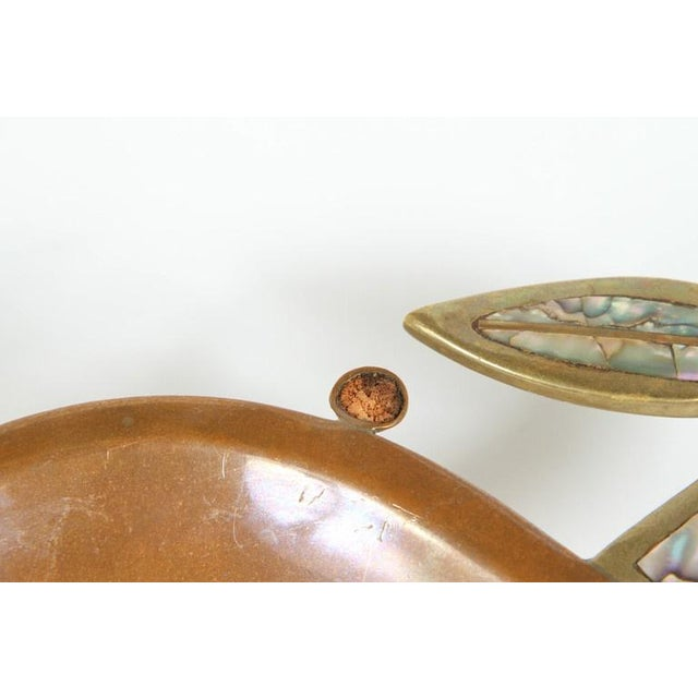 Image of Brass & Abalone Crab & Fish Dishes - A Pair