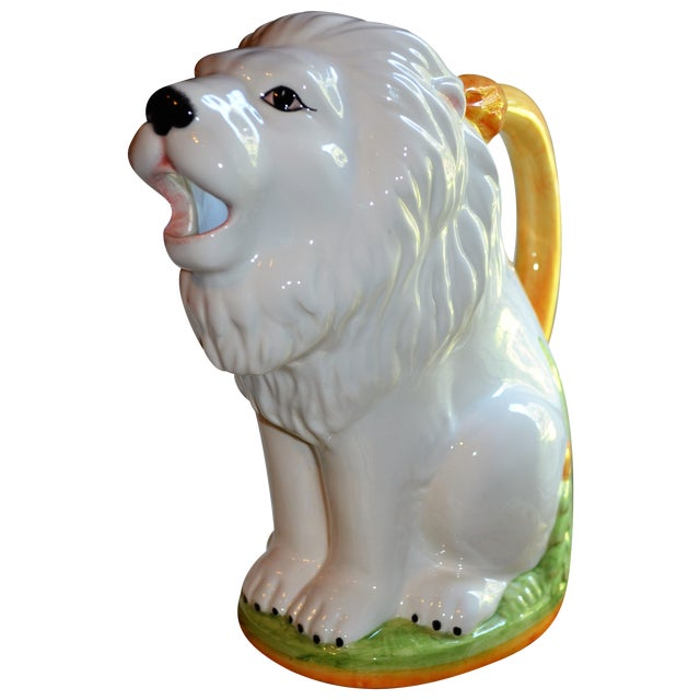 Vintage Italian Ceramic Lion PItcher - Image 1 of 10