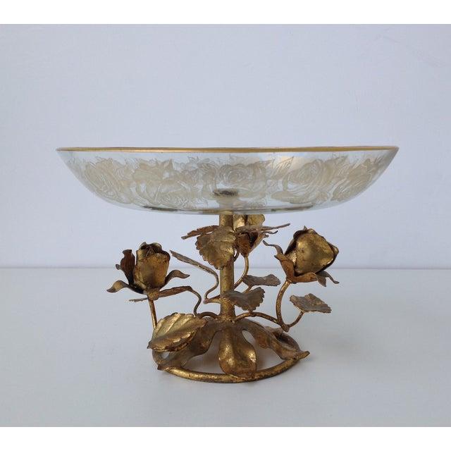 Gilt Italian Tole & 22k Gold Glass Center Bowl II - Image 4 of 8