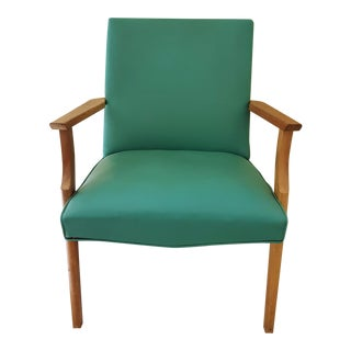 1950s Turquoise Vinyl and Wood Chair