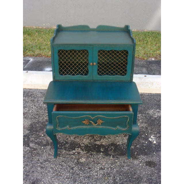 Mid-Century Blue Nightstands - Pair - Image 5 of 9