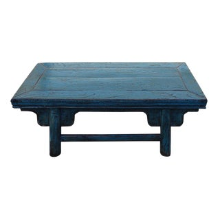 Rustic Chinese Light Blue Kang Table