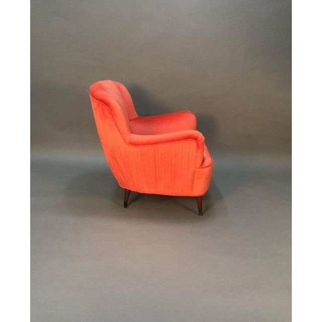 Mid Century Club Chairs With Velvet Pleat - Pair - Image 6 of 9