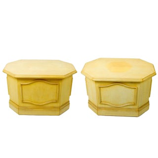 Yellow Painted Side Tables - a Pair