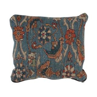 "Antique Persian Rug Fragment Pillow - 1'3"" X 1'3"