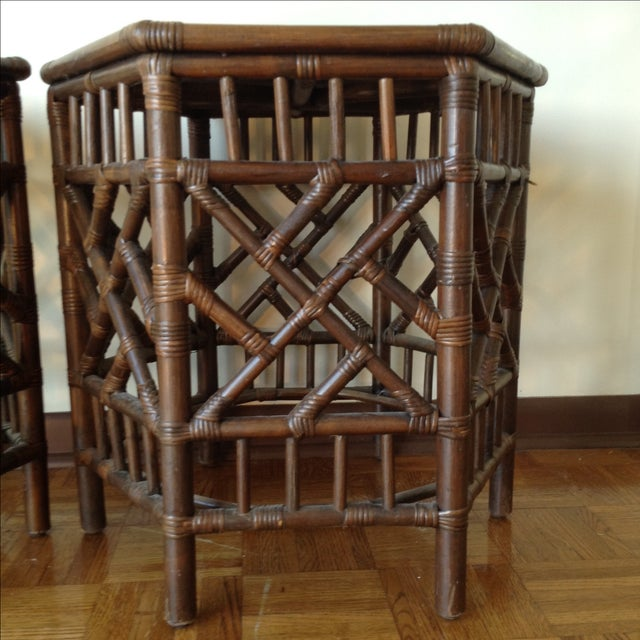 Rattan Chinese Chippendale Fretwork Tables - Pair - Image 7 of 8