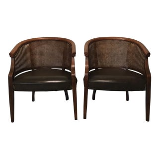 Vintage Cane Barrel Chairs - A Pair