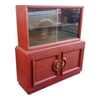 Mid-Century Red Chinoiserie Cabinet