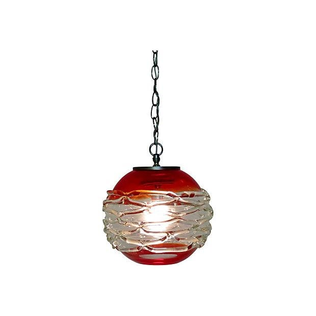 Vintage Murano Red and Clear Glass Pendant - Image 2 of 4