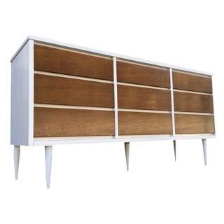 Mid-Century Modern Brown & White Credenza Dresser