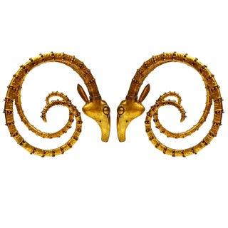 Alain Chervet Style Brass Ram's Head Table Base - a Pair