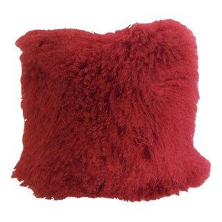 "18"" Square Red Alpaca Pillow with Suede Back"