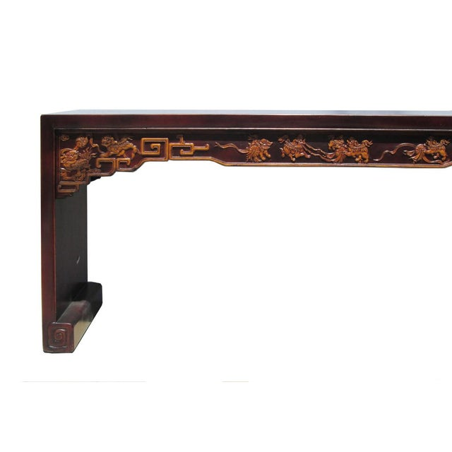 Dog Console Table ~ Long chinese fu dog carving console table chairish