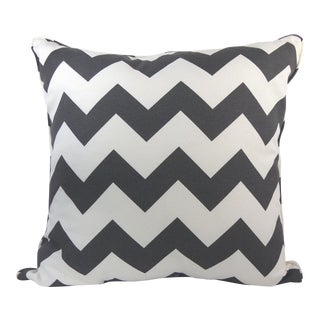 Dark Gray & Off-White Chevron Pattern Custom Pillow