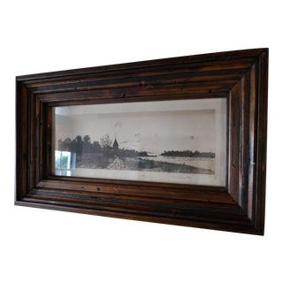 Etching of Railway and River in Statement Wood Frame